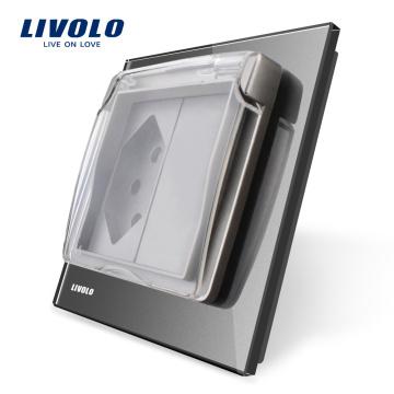 Livolo UE Standard Suisse Prise de courant avec couvercle étanche AC 110 ~ 250V VL-C7-C1CHWF-15