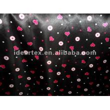 Negro y rojo impreso satén tejido de poliéster de vestido de la señora
