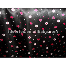 Polyester black and red Printed Satin Fabric for Lady Dress
