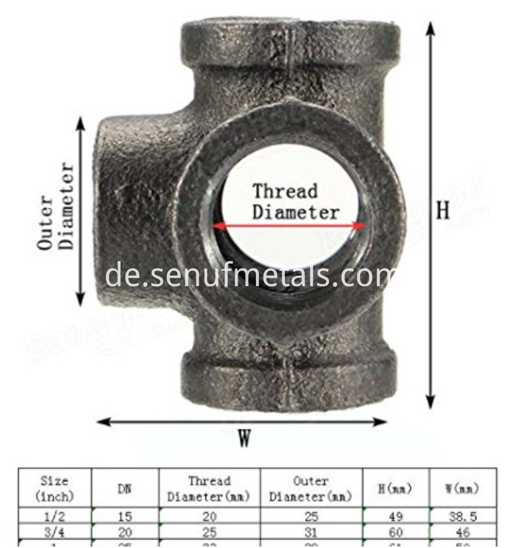 Black Malleable Iron Cast Pipe Fitting 5 Way Pipe Female (4)