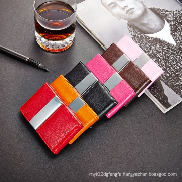 Factory Price Business Card Holders Metal Mix PU Leather Bulk Name Card Holder