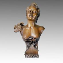 Busts Bronze Sculpture Maiden Carving Deco Brass Statue TPE-215