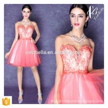 Estilo de Verão Loose Casual Vestido de renda New Design Sexy Pink Off Shoulder Sweet Heart Mini Dress