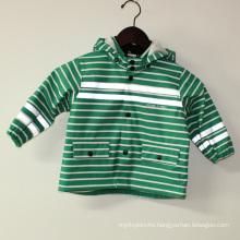 Green Stripe Reflective PU Rain Jacket/Raincoat