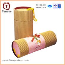 Caixa de embalagem de papelão cilíndrica simples para presente