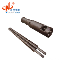 Conical twin screw and barrel for profile