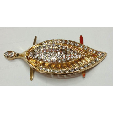 Leaves Metal Shoe Buckle with Rhinestone