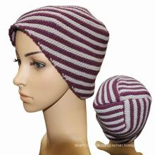 Senhora moda listrado lã malha chapéu de inverno quente (yky3101)