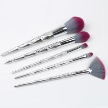 5 piezas de plástico brillante Handleand kit de cepillo de maquillaje