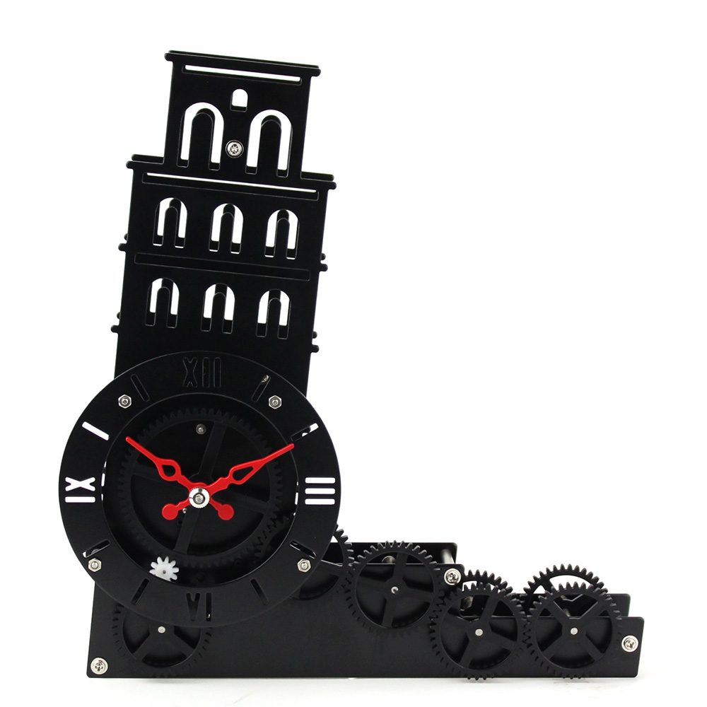 Leaning Tower Gear Desk Clock