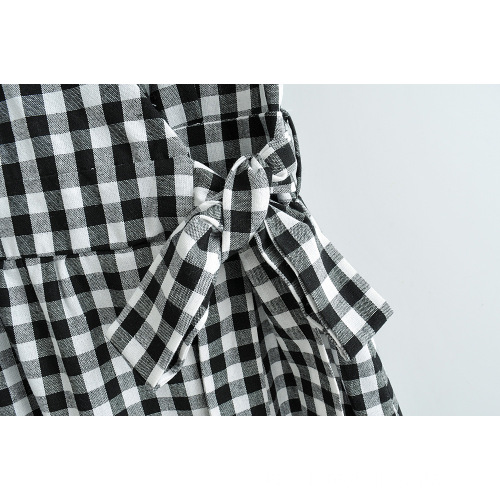 Frauen New Black White Plaid Schnürung