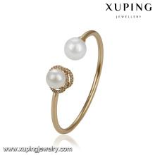 51775 Xuping vogue brazalete de oro diseños, elegante brazalete de dos perlas brazalete
