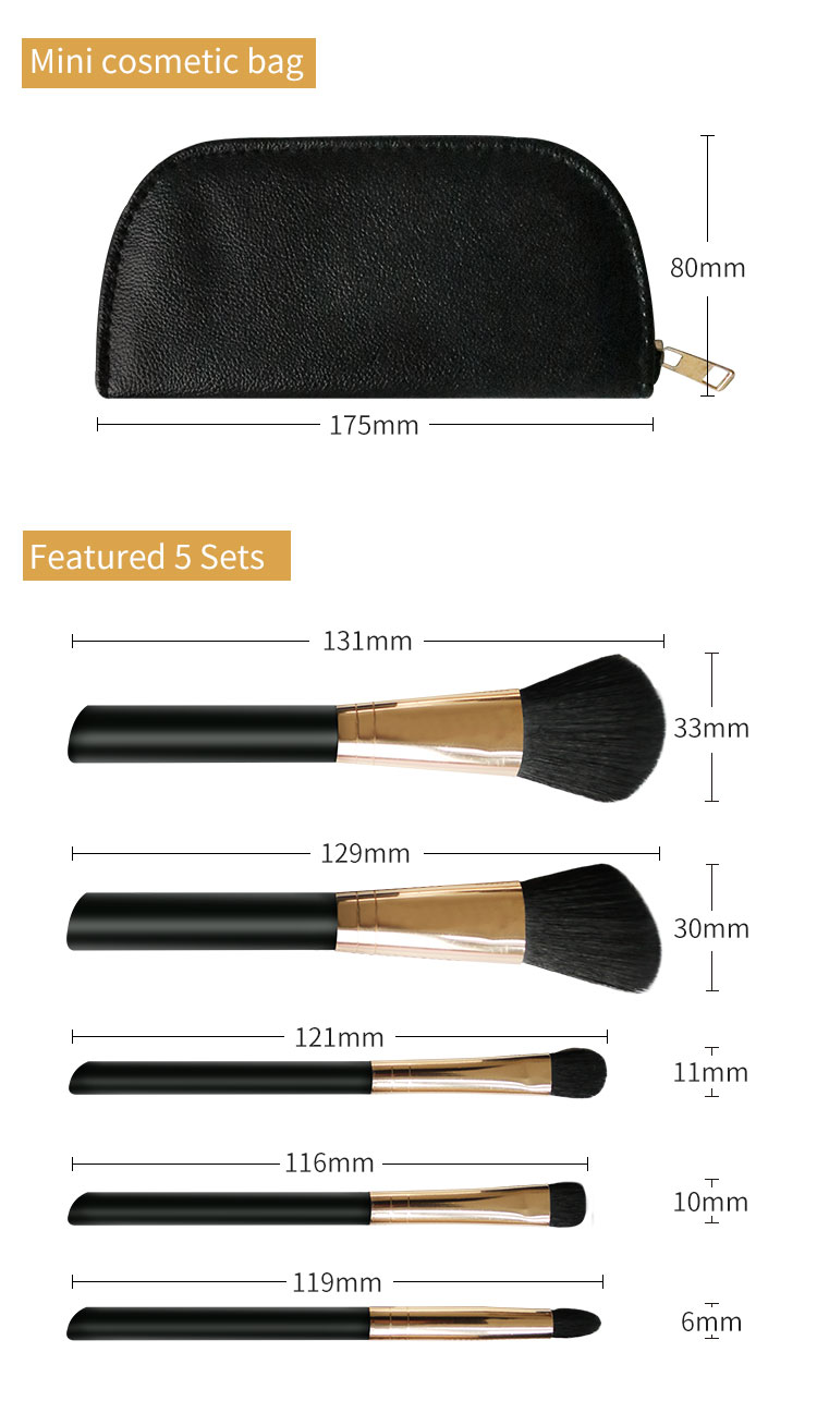 5 PIECE Essential travel makeup brush set 6