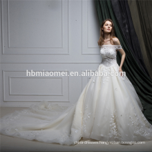 Real sample one word shoulder lace guangzhou wedding dress with long tail