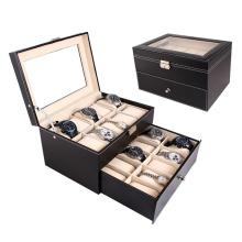 Grande caixa de relógio de caixa de exibição de couro 20 slot (hx-a0753)