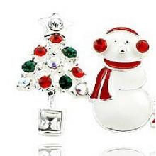Bijoux de Noël / Boucle d'oreille de Noël / Noël bonhomme de neige (XER13366)