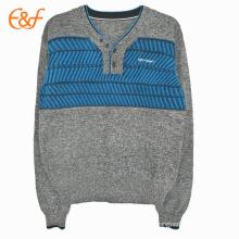 Chandail de pull moderne Shrug V-Neck Men avec motif de tricot