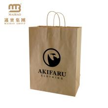 China Kundenspezifische gedruckte aufbereitete Kleidung, die Kraft-Brown-Papiertüte mit Griff kauft
