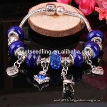 Perles de verre en cristal de Murano en cristal de couleur coloré ajustent les bracelets de charme européens pour les femmes