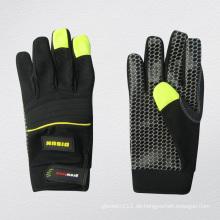Micro Fibre Palm Silikon gepunktete Mechaniker Handschuh-7217
