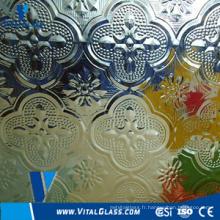 Verre à motif floraux transparent avec CE et ISO9001
