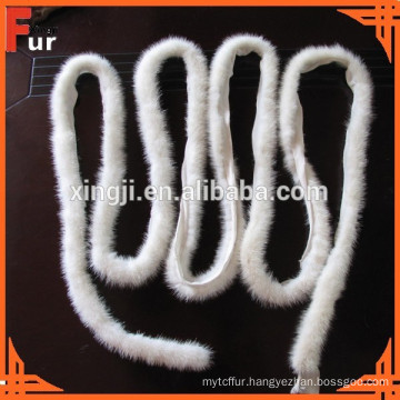 Natural White Mink fur Piping