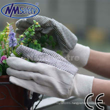 NMSAFETY white cotton drill hand glove with black pvc dots on palm