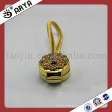 Clous magnétiques en rideau d'or avec fleur décoratif en diamant pour rideau décoratif