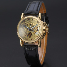 winner classical luxury alloy watch genuine leather band watch