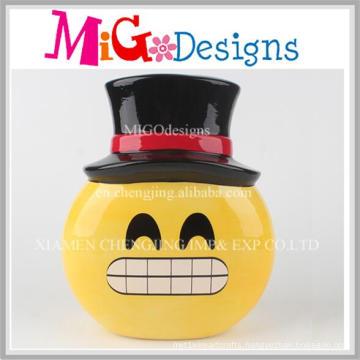 Laughing Emoji with Black Hat Ceramic Piggy Bank