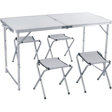 Height Adjustable Aluminum Folding Portable Table with Folding Stools for Parties
