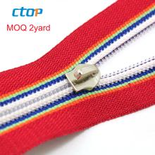 High quality decorative fancy custom zips jean zipper reverse nylon coil zipper for bags clothing