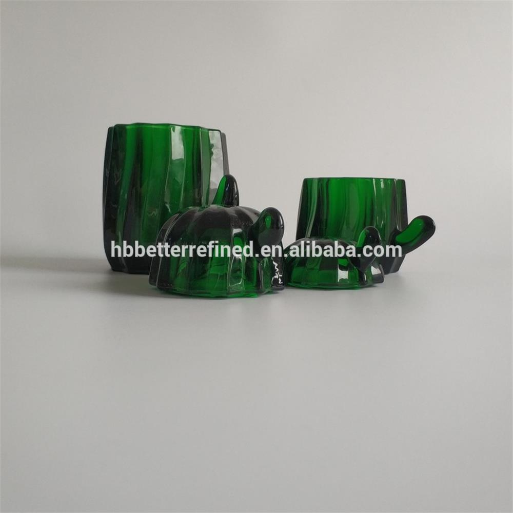 Elegant Green Glass Cactus Cookie Jar2