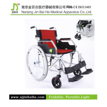 Licht Faltbarer Aluminiumlegierung Manueller Rollstuhl