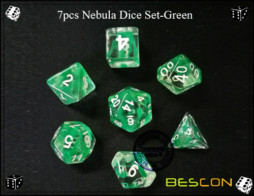 7pcs Nebula Dice Set-Green-f