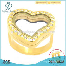 Hot sale new wedding stainless steel gold heart floating locket ring jewelry