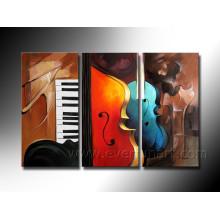 Handgemachte hängende Wand Kunst Abstrakt Öl Gemälde von Violinen auf Leinwand (XD3-198)