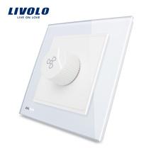 Livolo Nouveau Luxe Régulation De La Vitesse Du Commutateur Ventilateur Panneau En Verre Cristal Blanc AC 110 ~ 250V Domicile Mur Interrupteur Électrique VL-W291S-12