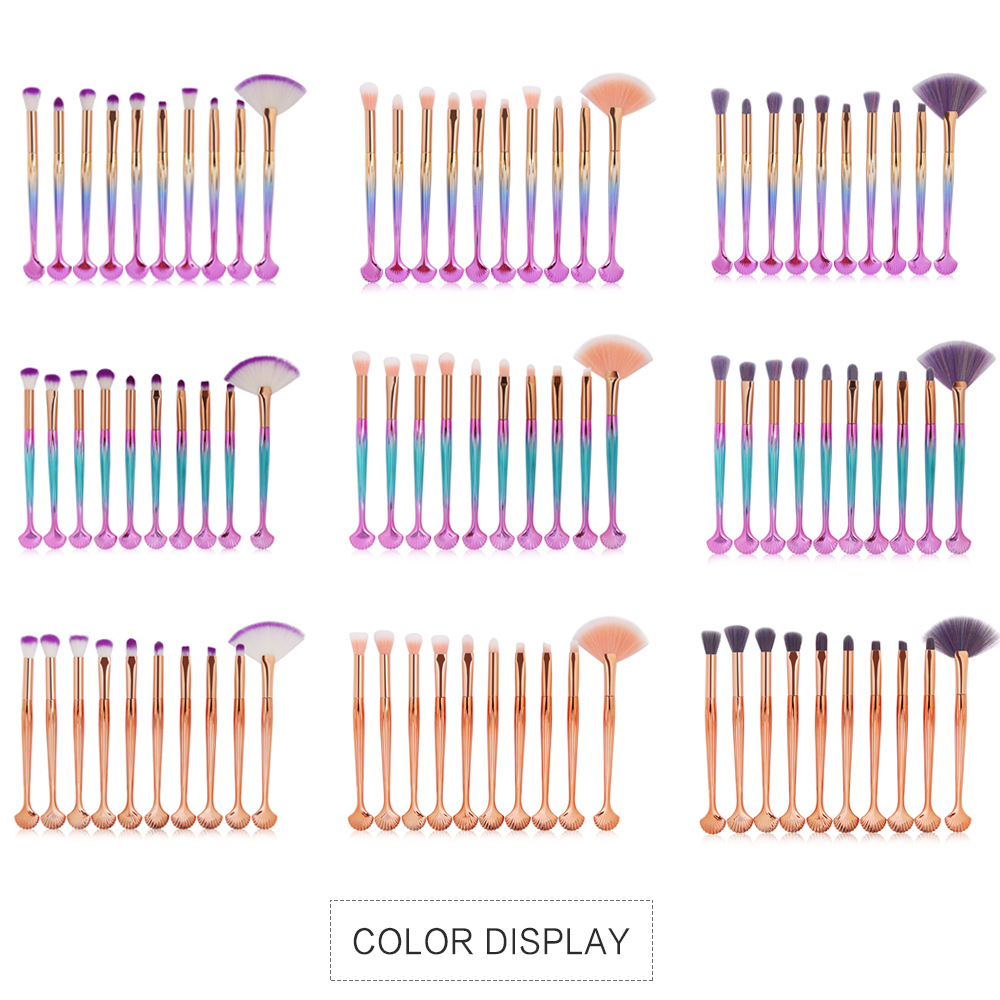 10 Piece Shell Makeup Brushe Sets color 1