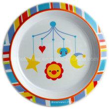 Round Kids Melamine Dinner Plate with Logo