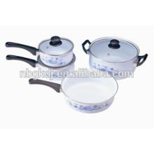 cacerola de esmalte y esmalte cazo y esmalte sartén con tapas de vidrio y mangos de baquelita