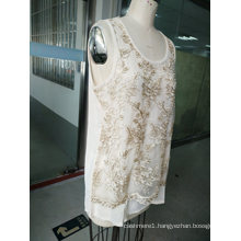 Summer Fashion Gold Thread Embroidery Flower Women′s Vest