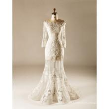 See Through Skirt Full Sleeve Mermaid Wedding Gown