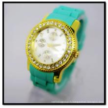 Hanglee-1524 gros bande de silicone plaqué or poignet montres