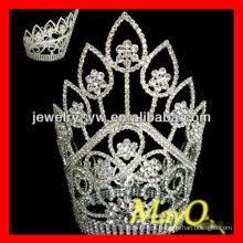 Fita alta grande chapeado flor de cristal flor de diamante rainha concerto tiara coroa