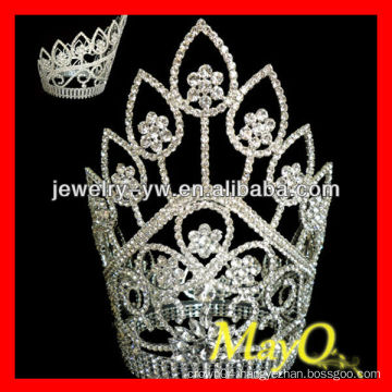 Large tall sliver plated crystal flower diamond queen pageant tiara crown