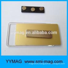 Black plastic name badge magnetic nametag with custom company logo print