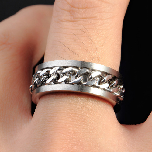 Stainless Steel Chain Wind Promise Rings For Couples