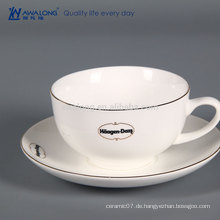 Wiederverwendbare Kaffeetasse mit Deckel, Espresso Bone China Kaffeetasse und Untertasse