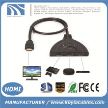 3 Port Pig Tail HDMI 1080p Switch Splitter Switcher HUB Box Cable for TV HDTV DVD PS3 Xbox 360 Cable box